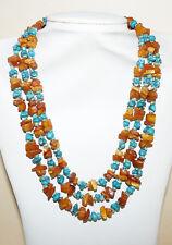 Collier 3 rangs création unique ambre et turquoise véritables argent 925