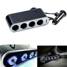 4 Way Car Multi Socket Cigarette Lighter Splitter USB Charger Adapter DC 12/24V