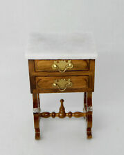 Vintage Marble Top End Table W Drawers Dollhouse Miniature 1:12