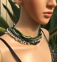 Vintage Necklace Beaded Multi Strands Green & Black White Pearls Gold Clasp