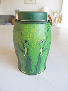 WILLIAMSON'S GREEN ELEPHANT TEA CADDY.COLLECTABLE TIN.