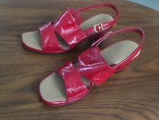 Vintage Red Cross High Heel Sandal Shoes, Red, 7 1/2 Narrow