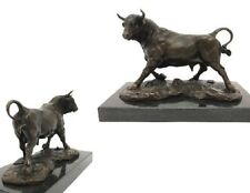 Bronzefigur Skulptur Tierfigur Stier Der Angriff Auf Marmor Signiert Milo 2,5 Kg