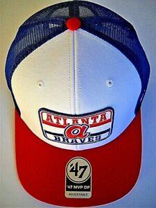 ATLANTA BRAVES ADULT SNAPBACK CAP HAT W/ LITTLE a LOGO AND BLUE TRUCKER MESHBACK