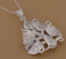 925 Sterling Silver Tree of Life Leaf Pendant Charm Necklace Chain Stunning Gift