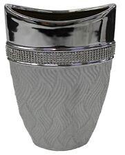 Lesser & Pavey 22cm Alto Brillo Plata Jarrón Florero Forma Ovalada Diseño Único