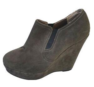 Tony Bianco Women's Dark Grey Suede Wedge Heels Size 7 Leather Booties