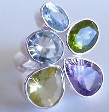 GENUINE 7.48tcw Topaz, Lemon Quartz, Amethyst & Peridot Ring Sterling Silver 925