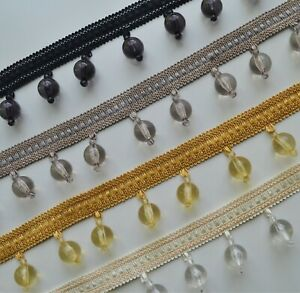 Luxury beaded trim with clear acrylic beads 4.7 cm width, curtains blinds