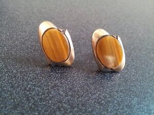 Gold cuffinks 1/20 12K G.F Tiger's Eye with crown logo stamped on back