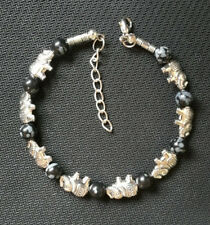 Ladies Bangle Tibetan Silver Elephant Snowflake Obsidian Bead Bracelet Jewelry