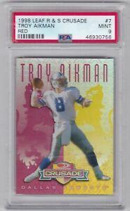 1998 Leaf Rookie & Stars Crusade Red #7 Troy Aikman PSA 9 Mint 18/25 Rare