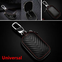 1PC Universal Black Leather Car Key Chain Cover Holder Key Fob Case Bag For Cars
