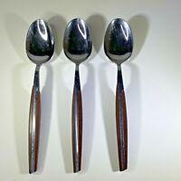 Vintage Eldan Large Spoons Stainless Steel Japan Brown Lot of 3 MCM 9 Inches