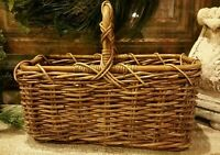 Large Woven Wood Rope Sturdy Basket w/ Handle Storage Rectangular EUC