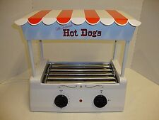 Vintage Nostalgia Electrics Hot Dog Roller Grill Cooker Machine W/ Bun Warmer