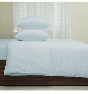 Callista 2pc Set Duvet Cover, Pillowcase Set Cotton Sateen 400 Thread Twin Blue