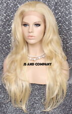 Pale Blonde Heat Safe LACE FRONT WIG Extra Long Wavy JSEM 613 Hairpiece NWT