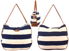 WOMEN'S POPULAR  BEACH SHOPPER TOTE SHOULDER BAG CANVAS KANGOLNEW SUMMER STRIPED