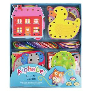 Alphabet Lacing Card Set Children Craft Learn And Play.