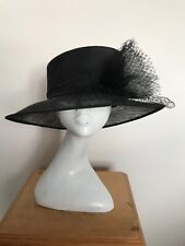 Collection First Avenue Black Satin & Sinamay Hat  - Wedding - Races