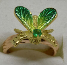 Vintage beauty! Solid 18k custom enameled iridescent moth bug insect ring 3.8 gr