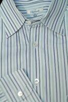 Faconnable Men's White Burgundy Beige Navy Stripe Cotton Casual Shirt L Large