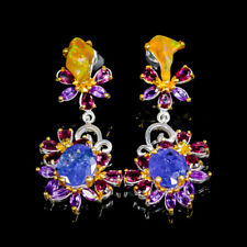 Top Color AA SET11x9mm Natural Tanzanite 925 Sterling Silver Earrings /E36496