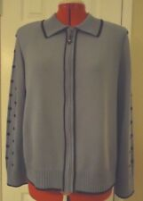 Light Blue Navy Trim St John Collection Wool Rayon Knit Zipper Jacket-Size 16
