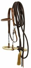 Showman Show Bosal MEDIUM OIL Leather Silver Headstall W/ Nylon Mecate Reins!