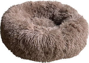 HEM AND BOO ROUND DOUGHNUT RELAXATION DOG CAT BED BROWN GREY SMALL MEDIUM LARGE