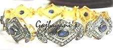 Sapphire 14K Gold & Silver Bracelet Amazing Handcrafted 9.50 Ct. Diamond & Blue