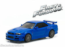 GREENLIGHT FAST AND FURIOUS BRIAN'S 2002 NISSAN SKYLINE GT-R 1/43 BLUE 86219
