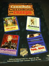CANNIBALS CUTTHROATS and CREEPS 1986 Horror promo advert WHITE SLAVE Psychopath