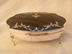 ANTIQUE ENGLISH STERLING SILVER FAUX TORTOISE SHELL JEWEL BOX,EARLY 20th.