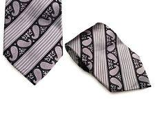 MASSIMO FERRE Pure Jacquard silk Necktie- Black & Grey Print