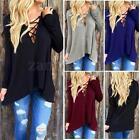 Zanzea Women Deep V-neck Lace-up Long Sleeve Loose Top Blouse Hoodie T-Shirt Tee