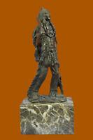 Bronze Marble Sculpture Native American Indian Warrior Figurine Statue Hot Cast