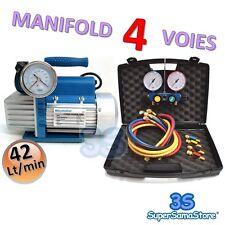 3S POMPE A VIDE double étage 42 Lt + MANIFOLD FRIGORISTE 4 VOIES R410A R134A