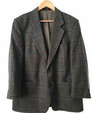 Mens DAKS London Signature Wool Check Jacket Blazer Size 42S Grey Green Red