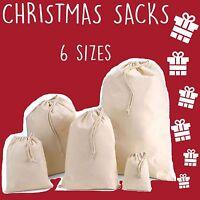 Santa Christmas Xmas Sack Stocking Present Gift Drawstring Bag Cotton Unbleached