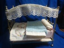 Dollhouse 1:12 Scale Brass Bed with Bedding - VINTAGE