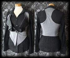 Gothic Grey Black Frilled NIGHTSHADE Corset Waistcoat 4 6 Victorian Steampunk
