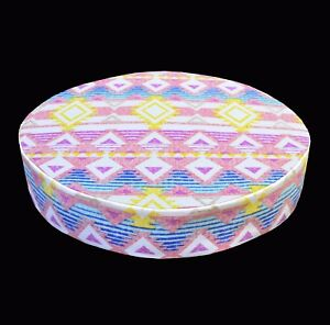 AL254r White Aqua Purple Geometric Cotton Canvas 3D Round Seat Cushion Cover