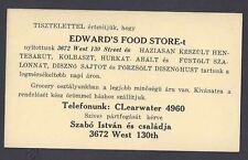 Ca 1951 IN HUNGARIAN EDWARDS FOOD STORE SELLS BACON,PIGS,CHEESE ETC CLEVELAND OH