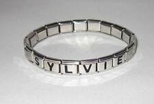 Bracelet italien prénom lettre, ajustable acier inox.