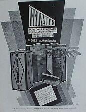 PUBLICITE INNOVATION MALLE ARMOIRE EVENTAIL PORTE HABITS BAGAGERIE DE 1928 AD