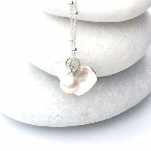 "Pearl Silver Beaten Heart Necklace - Delicate Sterling Silver Chain (18""/45cm)"