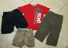 Mixed Lot of 4  Toddler  Boy Clothes size  2t, 3t & 4 pants shorts tee shirt