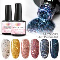 MEET ACROSS Soak Off Glitter Sequin Gel Top Base Coat Nail Art Polish Manicure